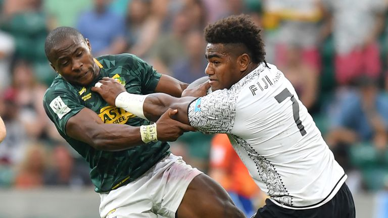 Josua Tuisova (right) starts on the right wing for Fiji