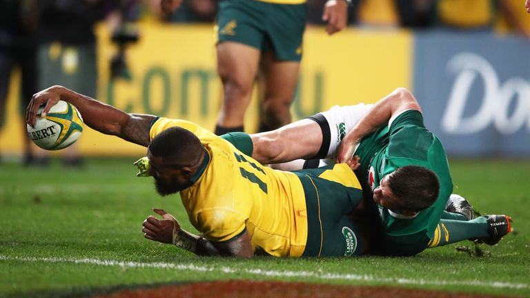 Marika Koroibete stretched out to score a try and bring the Wallabies back into the game
