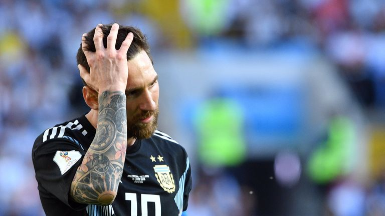Lionel Messi during the group D match against Iceland