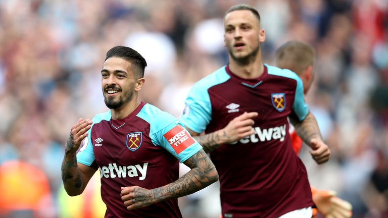 Manuel Lanzini is back in east London as he continues his recovery from knee surgery