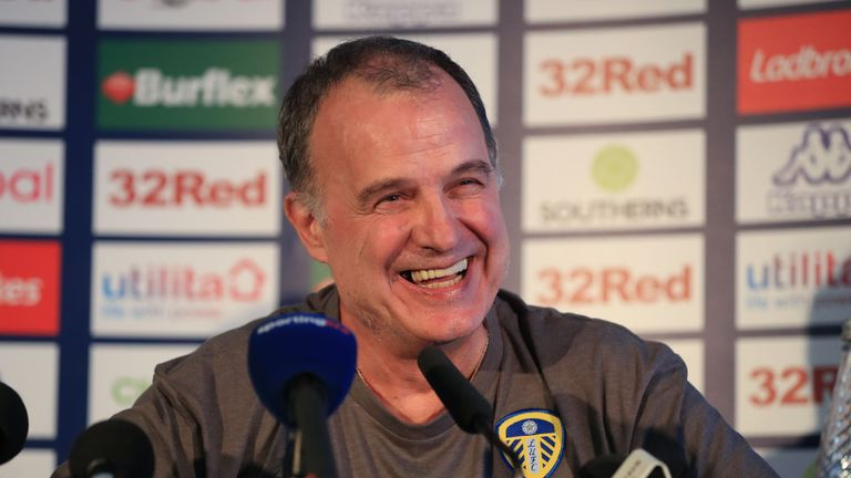 New Leeds United manager Marcelo Bielsa during a press conference at Elland Road