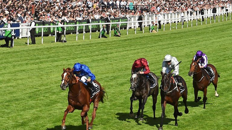 Masar wins the Derby at Epsom ahead of Dee Ex Bee, Roaring Lion and Saxon Warrior