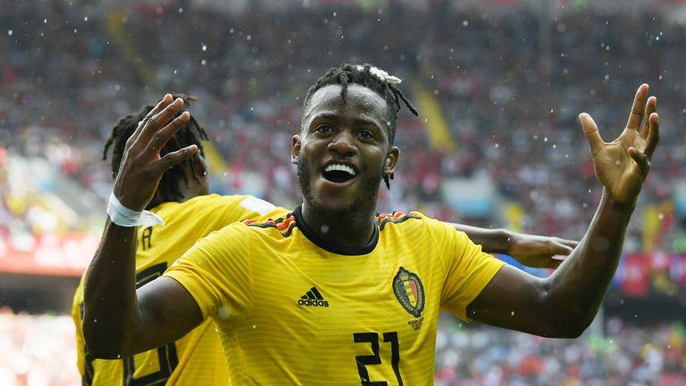 Michy Batshuayi celebrates after scoring Belgium's fifth goal