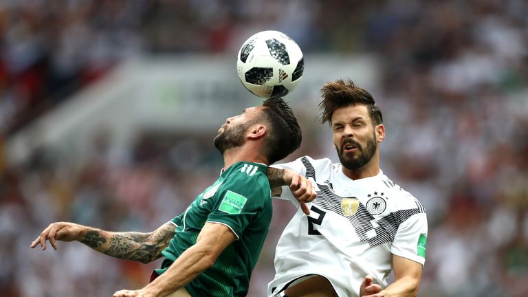 Miguel Layun and Marvin Plattenhardt in action at the Luzhniki Stadium