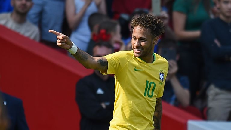 Neymar is on World Cup duty with Brazil