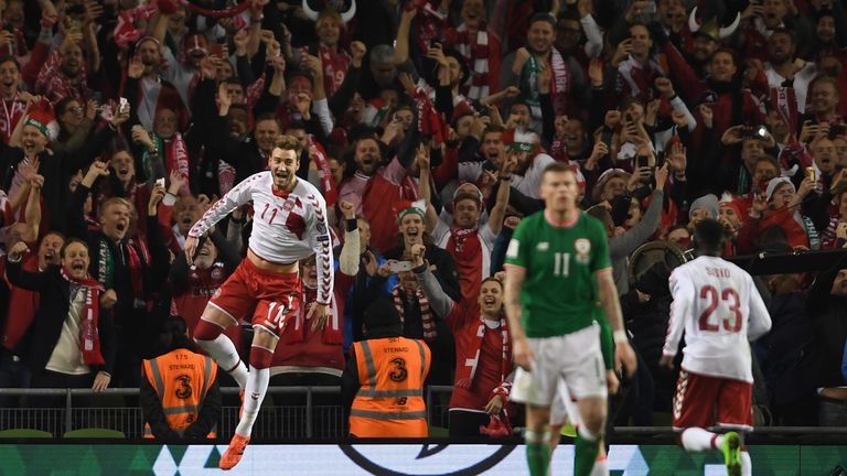 Bendtner's goal in the 5-1 drubbing of Ireland was his first since March 2015