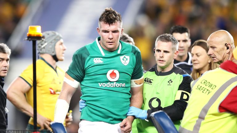 Ireland lost skipper Peter O'Mahony to injury after he fell heavily under a challenge in the air
