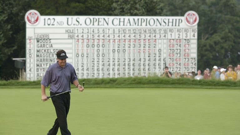 Mickelson lost out to Tiger Woods on the Black Course at Bethpage in 2002