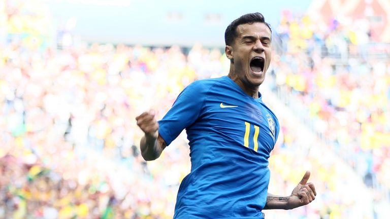 Philippe Coutinho celebrates scoring Brazil's first goal