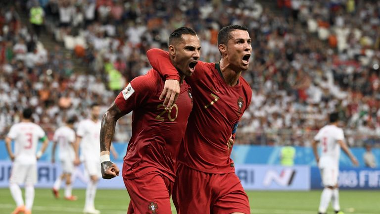 Ricardo Quaresma and Cristiano Ronaldo celebrate the former's goal for Portugal against Iran in the 2018 World Cup