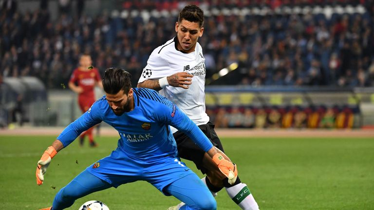 Roberto Firmino and Alisson faced each other in the Champions League last season