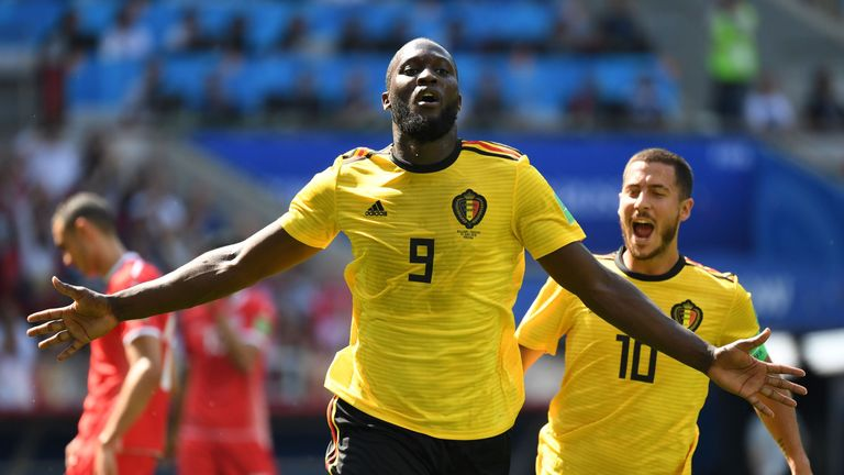 Romelu Lukaku celebrates with Eden Hazard after extending Belgium's lead