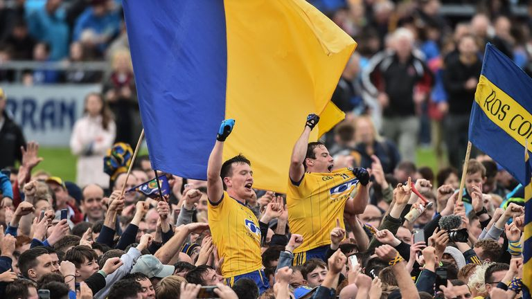 Roscommon players celebrate with supporters after the Connacht final last year
