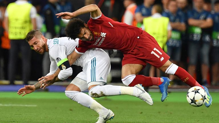 Salah went off injured after a collision with Sergio Ramos