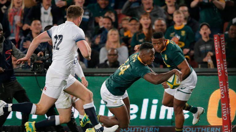 South Africa wing Sibusiso Nkosi  scores