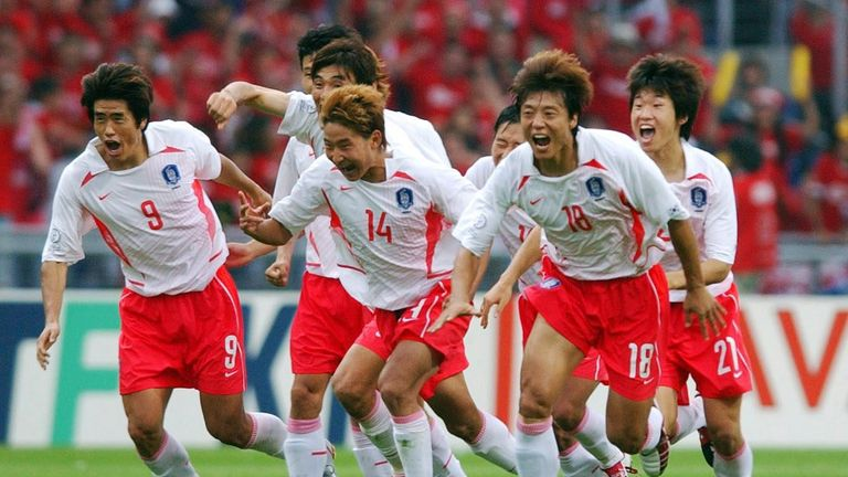South Korea celebrate beating Spain on penalties