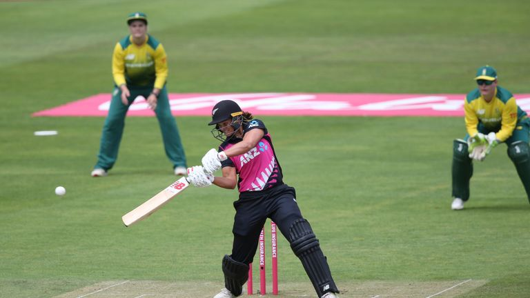 Suzie Bates of New Zealand scores runs during the International T20 Tri-Series match between New Zealand Women and South Africa Women at The Cooper Associates County Ground on June 20, 2018 in Taunton, England.