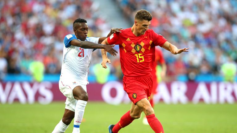 Thomas Meunier (R) is suspended for Tuesday's World Cup semi-final