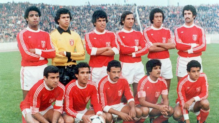 Tunisia players pose before their clash against Mexico in the 1978 World Cup, which Martin commentated on