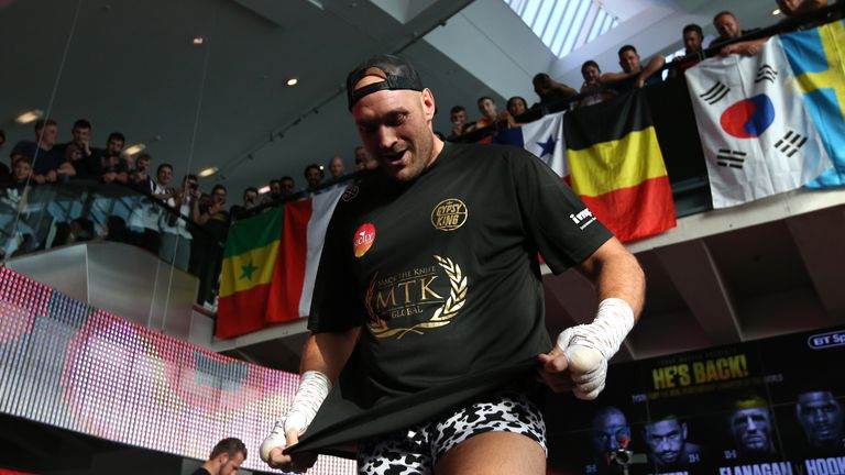 Tyson Fury donned some 'short shorts' at his public workout to raise awareness of testicular cancer