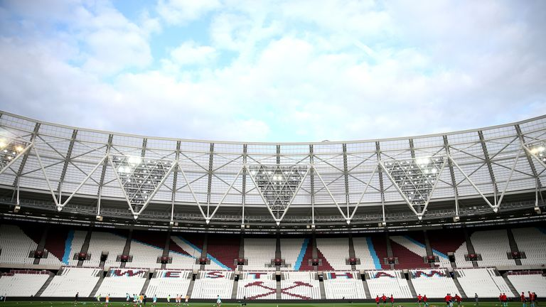 during the Premier League 2 match between West Ham United and Middlesbrough at London Stadium on April 10, 2017 in Stratford, England.