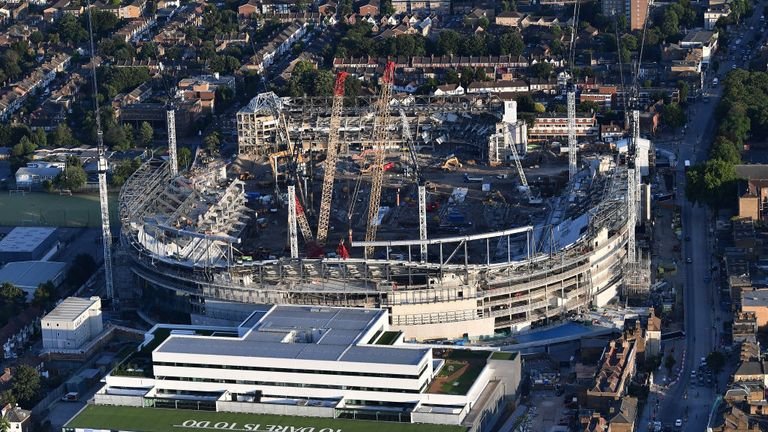 LONDON, ENGLAND - JULY 12:  An aerial view of the White Hart Lane stadium as construction work continues on July 12, 2017 in London, England. (Photo by Dan Mullan/Getty Images)