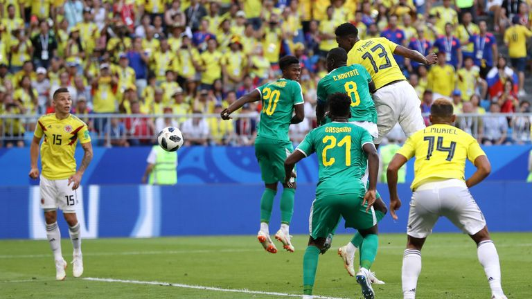 Yerry Mina climbs highest to head Colombia into a 1-0 lead