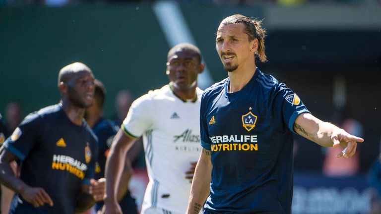 Jun 2, 2018; Portland, OR, USA; Los Angeles Galaxy forward Zlatan Ibrahimovic (9) prepares for a Portland Timbers corner kick during the second half at Providence Park. The game ended tied 1-1. Mandatory Credit: Troy Wayrynen-USA TODAY Sports