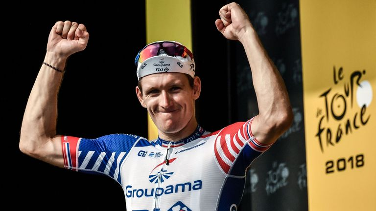 Demare celebrates his stage 18 victory