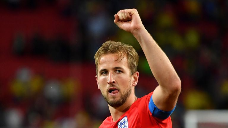 Harry Kane was seen holding his back during the win in Moscow