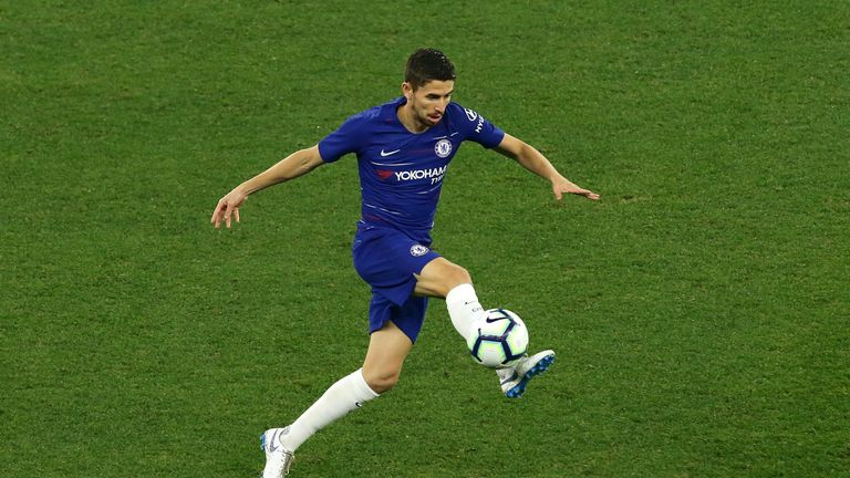 Jorginho controls the ball