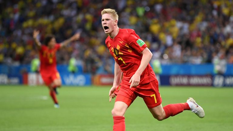 Kevin De Bruyne celebrates after putting Belgium two goals ahead