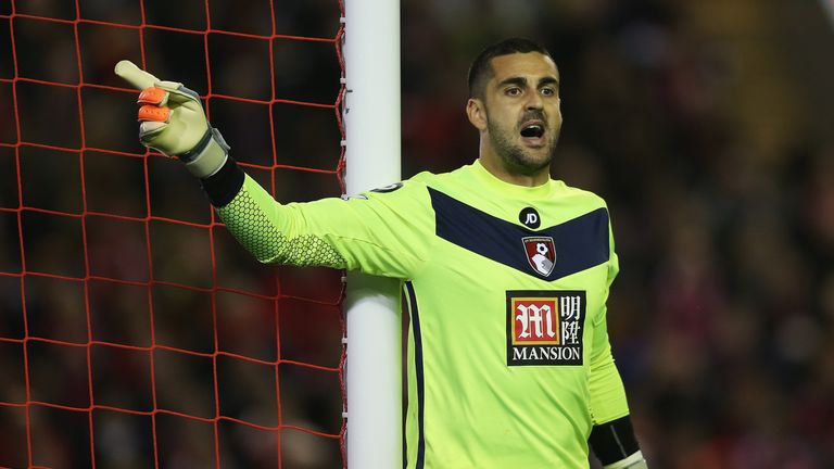 LIVERPOOL, ENGLAND - OCTOBER 28: Adam Federici of Bournemouth gives instructions during the Capital One Cup Fourth Round match between Liverpool and AFC Bournemouth at Anfield on October 28, 2015 in Liverpool, England.  (Photo by Chris Brunskill/Getty Images)
