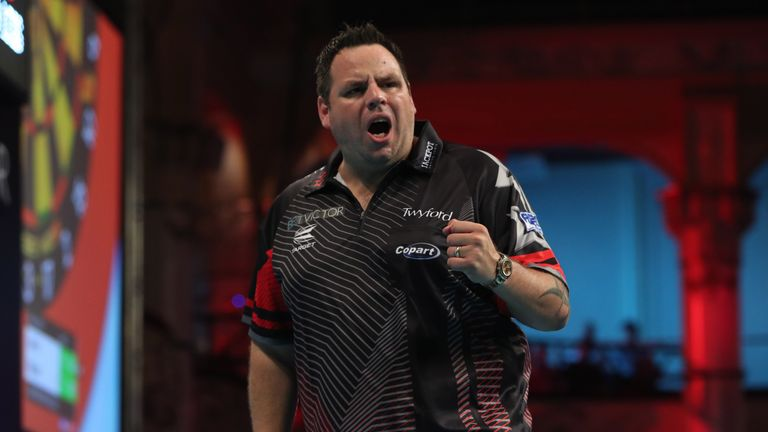 BET VICTOR WORLD MATCHPLAY 2018.WINTER GARDENS,.BLACKPOOL.PIC;LAWRENCE LUSTIG.ROUND1.ADRIAN LEWIS V JAMES WILSON.ADRIAN LEWIS IN ACTION