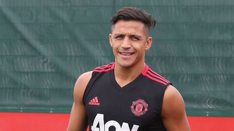 Alexis Sanchez during a first team training session at Manchester United's Aon Training Complex on July 13, 2018