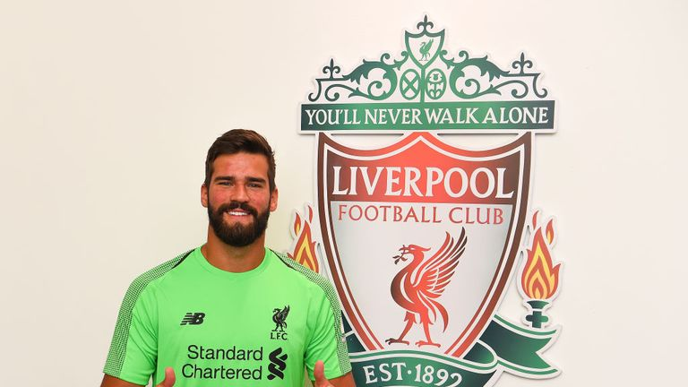 Alisson completed his world-record move to Liverpool in July 2018