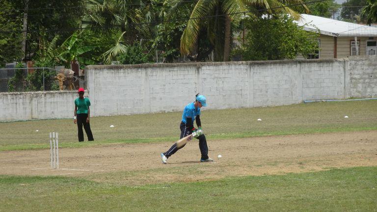 Amanda Large batting against the West Indies