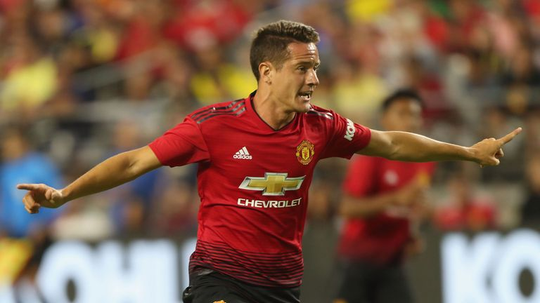 Ander Herrera in action for United in the first half in Phoenix