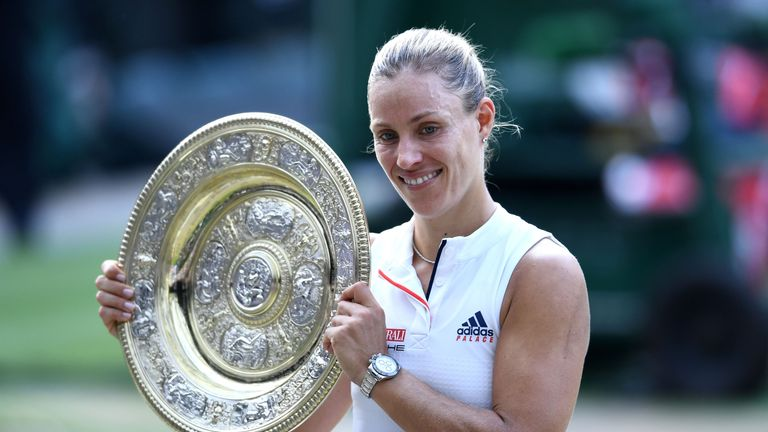 Angelique Kerber lifted her maiden Wimbledon title on Saturday