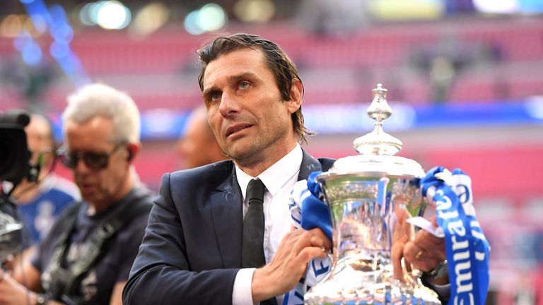 Antonio Conte poses with the FA Cup at Wembley Stadium on May 19, 2018