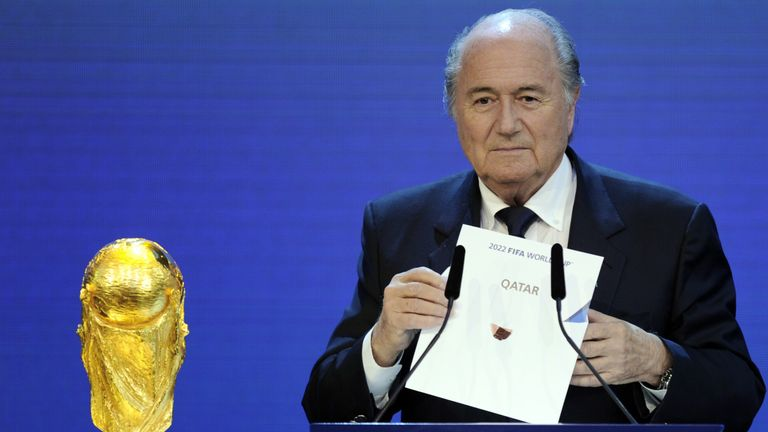 The then-FIFA president Sepp Blatter revealed Qatar as the host of the 2022 World Cup back in 2010