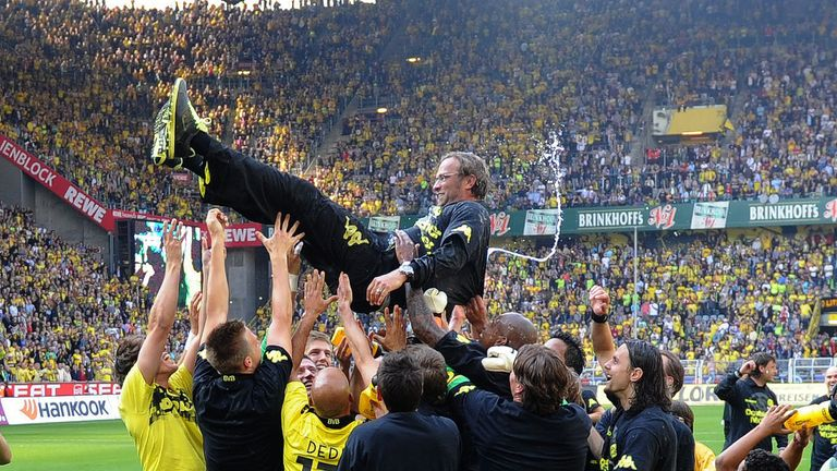 In April 2011, Jurgen Klopp's Borussia Dortmund were crowned Bundesliga champions with a 2-0 win at home against Nuremberg to land their first German league title since 2002.
