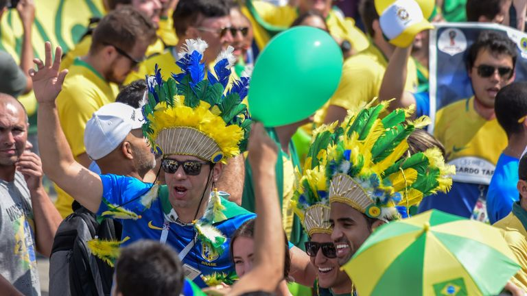 Brazil fans were in party mood as the team arrived in Kazan this morning.