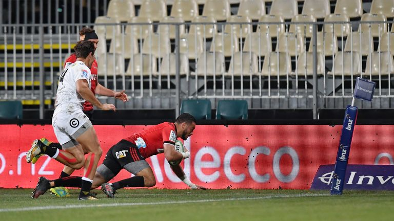 Bryn Hall scored the first try for the Crusaders against the Sharks in their quarter-final