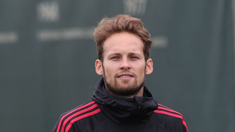 Daley Blind trained at Manchester United's Aon Training Complex in Manchester on Friday