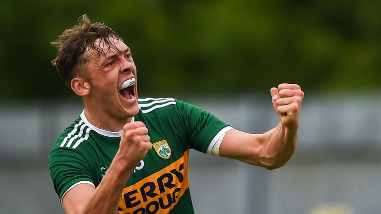 Kerry's David Clifford celebrates his late goal against Monaghan