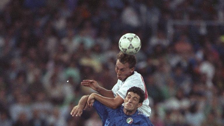 David Platt scored England's goal against Italy in the game in Bari