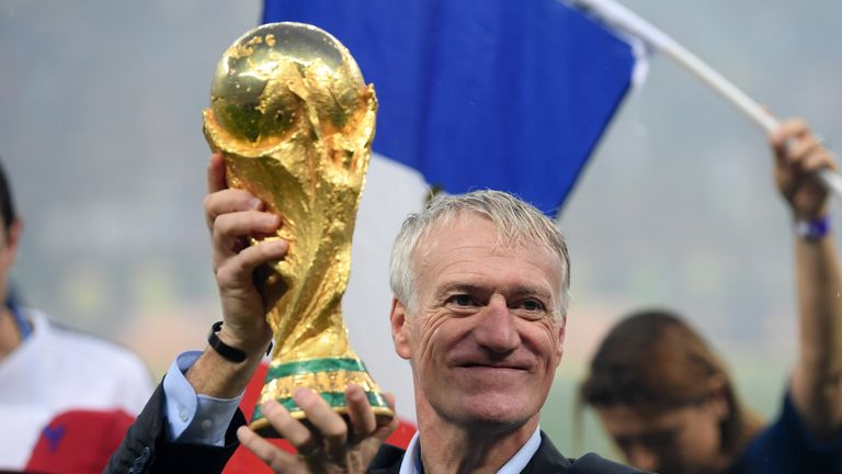 Didier Deschamps, Manager of France celebrates with the World Cup Trophy following his sides victory in the 2018 FIFA World Cup Final between France and Croatia at Luzhniki Stadium on July 15, 2018 in Moscow, Russia