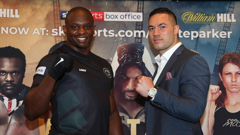 WHYTE-PARKER PROMOTIOM.FINAL PRESS CONFERENCE,.RIVERSIDE HOTEL.CANARY WHARF,.LONDON.PIC;LAWRENCE LUSTIG.DILLIAN WHYTE  AND JOSEPH PARKER COME FACE TO FACE AHEAD OF THEIR FIGHT ON EDDIE HEARNS MATCHROOM PROMOTION AT LONDONS O2 AREANA ON SATURDAY (28th July).