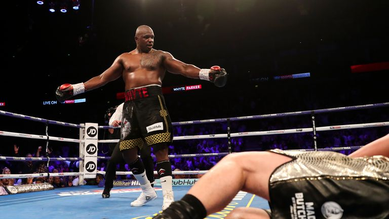 Whyte celebrates after a second knockdown